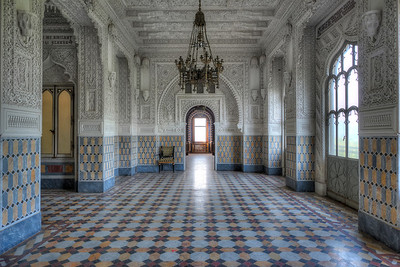 Into the white - One of the many decorated rooms in this abandoned castle.