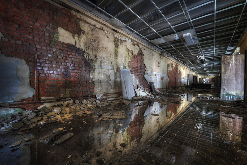 Waterworld - Flooded hallway in an abandoned school
