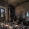 White noise - Vintage television left behind in a derelict abandoned villa