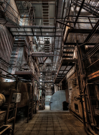 Maze Runner - I rarely visit industrial buildings but sometimes one comes along. This former power plant looked like a movie set. A roaring thunderstorm outside took care of the sound effects of slamming doors and squeaking metal.