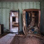 Cabinet - There is a lot of decay in this old farmhouse and this room was just great. The cabinet is starting to rot from the bottom up probably from rain pouring in. Several parts of the ho ...