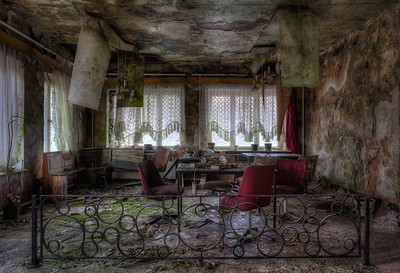 World Coming Down - This was probably the dining area of this former youth hostel. The upper floors close to collapse. Moss and fungus rule here now.