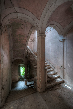 The Pink Castle - Beautiful staircase on the verge of collapse
