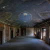 Grand Azur - Beautiful blue ceiling inside an abandoned castle left to decay